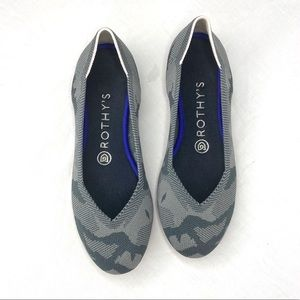 Rothys Gray Camo Flats Red Sole Round Toe Retired